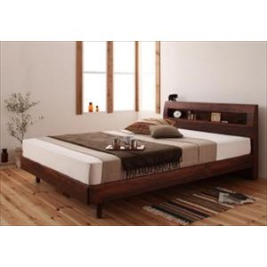 すのこベッド/セミダブル 棚・コンセント付きデザイン Haagen ハーゲン プレミアムボンネルコイルマットレス付き purana25