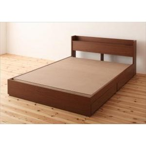 ベッド/ダブル ベッドフレームのみ 収納付き 棚・コンセント付き S.leep エス・リープ|purana25