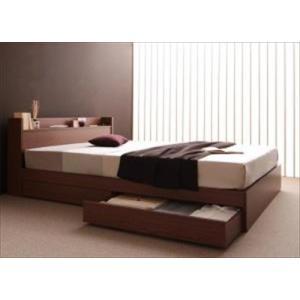 ベッド/ダブル 収納付き 棚・コンセント付き S.leep エス・リープ プレミアムボンネルコイルマットレス付き|purana25
