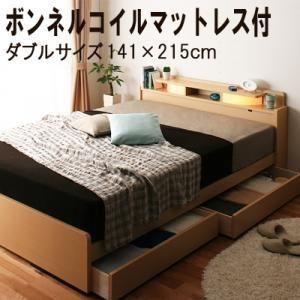 照明/棚付き収納ベッド All-one オールワン ボンネルコイルマットレス付き ダブル|purana25