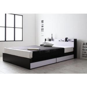 ベッド 収納付き モノトーンモダンデザイン 棚・コンセント付き MONO-BED モノ・ベッド プレミアムボンネルコイルマットレス付き ダブル|purana25