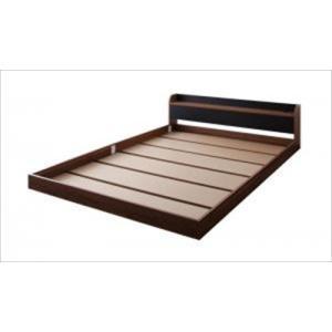 フロアベッド ローベッド 棚・コンセント付きバイカラーデザイン DOUBLE-Wood ダブルウッド ベッドフレームのみ ダブル|purana25