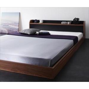 フロアベッド/ダブル 棚・コンセント付きバイカラーデザイン DOUBLE-Wood ダブルウッド スタンダードボンネルコイルマットレス付き|purana25