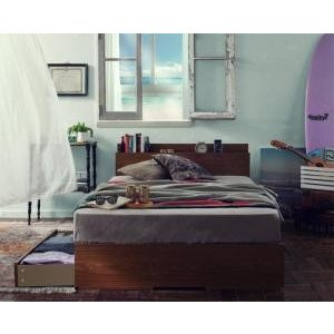 収納ベッド/セミダブル/すのこ仕様 棚・コンセント付き Arcadia アーケディア スタンダードボンネルコイルマットレス付き|purana25