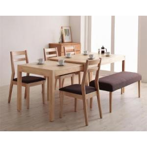 ダイニングセット/6点セット(テーブル+チェア4脚+ベンチ1脚) W135-235 最大235cm スライド伸縮テーブル Torres トーレス|purana25