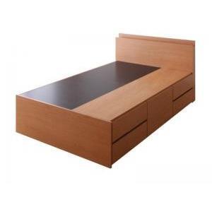 ベッド 収納付き 棚・コンセント付き_大容量チェストベッド VoLumen ボルメン ベッドフレームのみ セミシングル|purana25