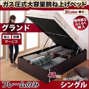 組立設置付 収納ベッド/縦開き/シングル/深さグランド ベッドフレームのみ 簡単組立らくらく搬入 ガス圧跳ね上げ Mysel マイセル|purana25