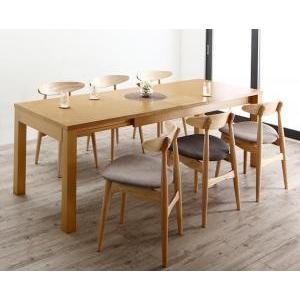 ダイニング/7点セット(テーブル+チェア6脚) W145-205 最大205cm 3段階伸縮 ワイドサイズデザイン BELONG ビロング|purana25