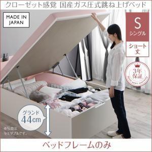 お客様組立 クローゼット跳ね上げベッド aimable エマーブル ベッドフレームのみ 縦開き シングル ショート丈 深さグランド|purana25