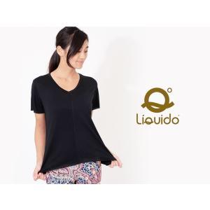 ヨガウェア ヨガ トップス リクイド LIQUIDO エッセンシャル トップ 19FW Tシャツ カットソー 体型カバー 半袖 ゆったり Vネック|puravida|02
