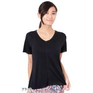 ヨガウェア ヨガ トップス リクイド LIQUIDO エッセンシャル トップ 19FW Tシャツ カットソー 体型カバー 半袖 ゆったり Vネック|puravida|12