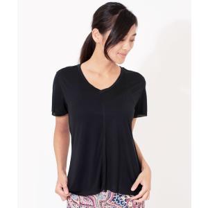 ヨガウェア ヨガ トップス リクイド LIQUIDO エッセンシャル トップ 19FW Tシャツ カットソー 体型カバー 半袖 ゆったり Vネック|puravida|05