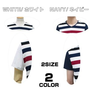 Tシャツ ボーダー Tシャツ メンズ 半袖 Vネック 白 ネイビー サマー pure2009
