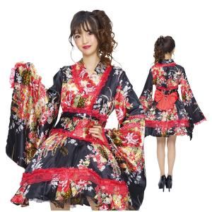 コスプレ 着物 和服 花魁 黒 赤 衣装 花 柄|pure2009
