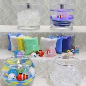 自分で作る!海セット丸A&LEDフラッシュキャンドルセット(ガラス細工3個付・ゴマアザラシちゃん、クマノミ、ピンクイルカ)