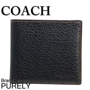 コーチ COACH 財布 折りたたみ財布 メンズ アウトレット エンボス ダブルビルトール ウォレット F12021 BLK ブラック|purely