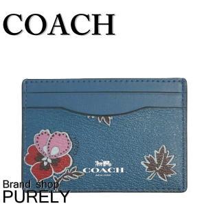 コーチ COACH カード ケース レディース 小物 パスケース アウトレット ワイルドフラワー プリント カード ケース F12773 SVCEH ダークティール purely