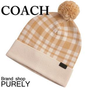コーチ COACH 小物 アクセサリー レディース アウトレット メリノウール アクリル チェック ニット帽 帽子 F20156 CAR キャラメル|purely