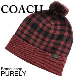 コーチ COACH 小物 アクセサリー レディース アウトレットウール アクリル チェック ニット帽 帽子 F20156 OXB オックスブラッド|purely