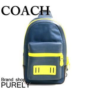コーチ COACH バッグ メンズ ショルダーバッグ ボディ バッグ アウトレット パーフォレイテッド テイレン パック F20469 QBMI4 ダークデニム×ブライトイエロー|purely