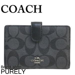 コーチ COACH 財布 レディース アウトレット シグネチャー ミディアム コーナー ジップ ウォレット 折り財布 F23553 SVDK6 ブラックスモーク×ブラック|purely