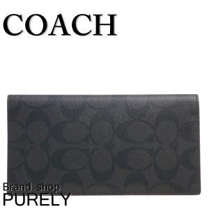 全品ポイント2倍 コーチ COACH 財布 メンズ シグネチャー ブレスト ポケット ウォレット 長財布 F25518 N3A ブラック