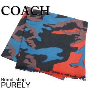 コーチ COACH メンズ レディース アウトレット カモフラージュ ウール スカーフ マフラー F54190 MGK マットブラック×レッドカモフラ|purely