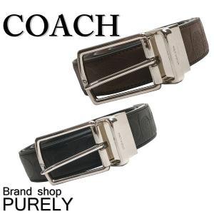 コーチ COACH 小物 メンズ ベルト ハーネス リバーシブル シグネチャー レザー ベルト F55158 BLK ブラック MAH マホガニー|purely