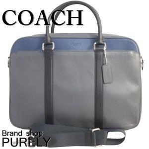 全品ポイント5倍 コーチ COACH バッグ メンズ ブリーフケース ビジネスバッグ レザー ペリー スリム ブリーフ F56018 NIMWY グラファイト×ブラックデニム|purely