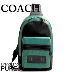 コーチ COACH バッグ メンズ ショルダーバッグ ボディ バッグ アウトレット パーフォレイテッド テイレン パック F56877 LL7 グリーン×ブラック|purely
