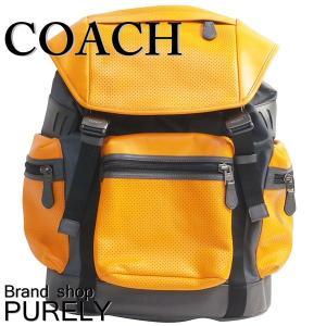 コーチ COACH バッグ メンズ アウトレット バック パック パーフォレイテッド テイレン トレック パック リュック サック F57477 LL6 オレンジ×グラファイト|purely