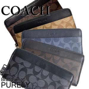 全品ポイント2倍 コーチ 財布 メンズ COACH 長財布 シグネチャー PVC アコーディオン ジップ ウォレット F58112