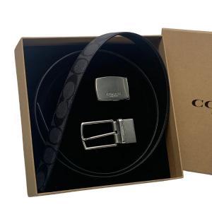 コーチ COACH 小物 ベルト メンズ アウトレット シグネチャー リバーシブル ベルト F65242 CQ/BK チャコール×ブラック|purely