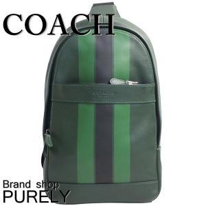 コーチ COACH バッグ メンズ ショルダーバッグ ボディ バッグ アウトレット ヴァーシティ レザー キャンパス パック F72226 M3Y パームパイン×ブラック|purely