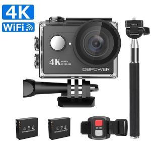 DBPOWER 4K WIFI アクションカメラ リモコン/自撮り棒付き(ブラック) 1080Pフル...