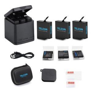 TELESIN GoPro Hero 7black/Hero 6/Hero 5/gopro hero用互換バッテリー3個 ボックス収納式 USB充電器付き 3個バッテリーケース付き Type-Cインターフェイス 3個