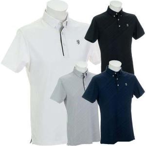 アドミラルゴルフ バイアスエンボス ボタンダウン半袖シャツ メンズ ADMA902