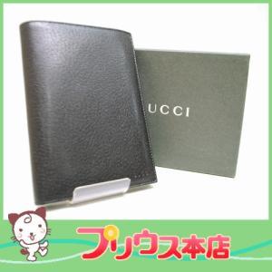 GUCCI グッチ  レザー 二つ折り札入れ 030・3662・1397・6990 ブラック 黒 通帳入れ パスポートケース 6990|purishonten