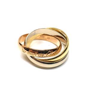 Cartier カルティエ トリニティ 3連リング 18金 18K 750 ゴールド ピンク ホワイト レディース 10号 人気 7718|purishonten