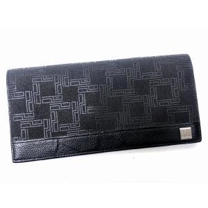 dunhill ダンヒル ディーエイト PVC レザー 型押し 二つ折り 長財布 ウォレット ブラック ロゴ 小銭れあり メンズ 7924|purishonten