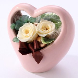 プリザーブドフラワー ギフト プレゼント 誕生日 結婚 出産 お見舞い バレンタイン ホワイトデー ハート カリーナ ホワイト|purizasenka