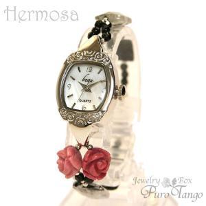 腕時計 レディース 時計 天然石 ブレスレット おしゃれ 日本製クォーツ プレゼント 記念日 誕生日 妻 大人の女性 金属アレルギー 薔薇 バラ purotango