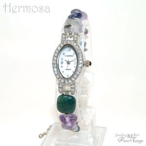 腕時計 レディース 時計 天然石 ブレスレット おしゃれ 日本製クォーツ プレゼント 記念日 誕生日 妻 大人の女性 金属アレルギー ジュエリーウォッチ purotango