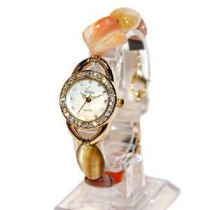 腕時計 レディース 時計 天然石 ブレスレット おしゃれ 日本製クォーツ プレゼント 記念日 誕生日 妻 大人の女性 金属アレルギー カーネリアン purotango