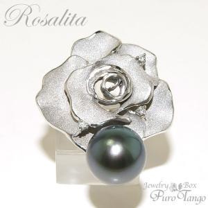 リング 指輪 薔薇 バラモチーフ ローズ 黒真珠  シルバー パワーストーン   プレゼント  妻  ジュエリー|purotango