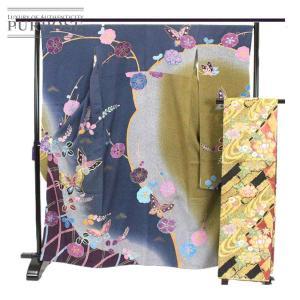 袋帯 正絹 着物 きもの 振袖 セット 蝶 成人式 和服 和装 リサイクル|purpose-inc