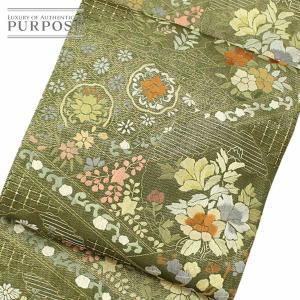 袋帯 着物 きもの 正絹 刺繍 扇 雪輪 六通 グリーン 和装 リサイクル|purpose-inc