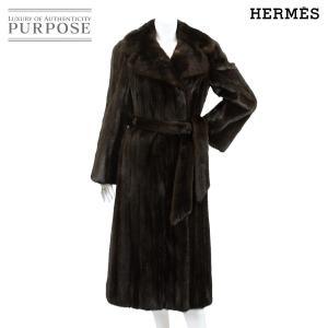 エルメス HERMES 毛皮 ミンク ロング コート ベルト...