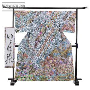 未使用 展示品 大島紬 正絹 着物 きもの いろは染 南国華文様 和服 和装 リサイクル purpose-inc