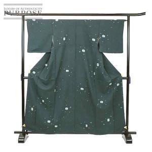 未使用 展示品 小紋 正絹 着物 きもの 絞り 緑色 和装 リサイクル|purpose-inc